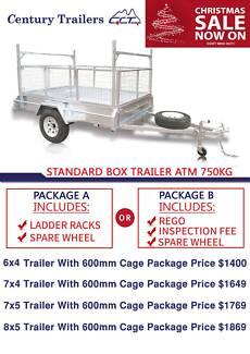 Galvanized Box Trailer 6x4 7x4 7x5 8x5 Package Start From $1400