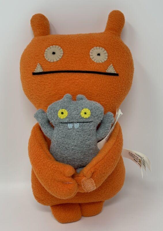 "RARE Uglydoll Uglybuddies ""Wage & Babo"" Orange Gray Monster Plush Stuffed Animal"
