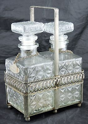 ANTIQUE SPIRIT DECANTER PAIR PRESSED GLASS W/ CADDY CARRIER & CAFE AMARETTO TAGS