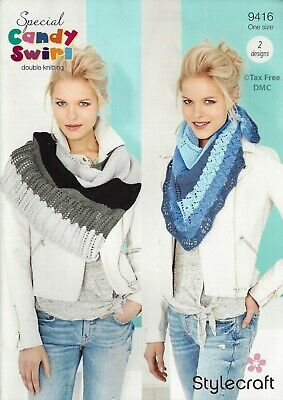VAT Free Knitting PATTERN ONLY Stylecraft Candy Swirl Shawls 2 Designs 9416 New Free Pattern Knit Shawl