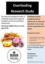 Overfeeding Research Study - Deakin University - Free Snacks! Burwood Whitehorse Area Preview