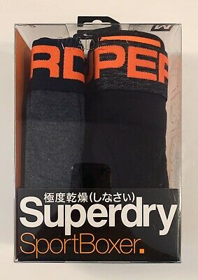 Men's New Superdry 2 Pack. Sport Boxer. Navy Grinder/total Eclipse. Size:M