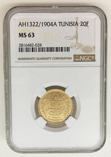 "AH 1322/1904 A-TUNISIA 20 Francs Gold Coin - NGC ""MS 63""     KM#: 234"