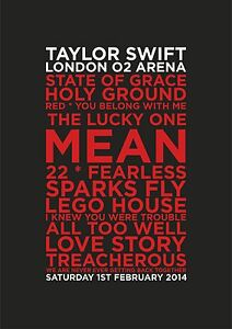 Taylor Swift Red Tour O2 London Set List Poster 1st February, A4 & A3, 02 London