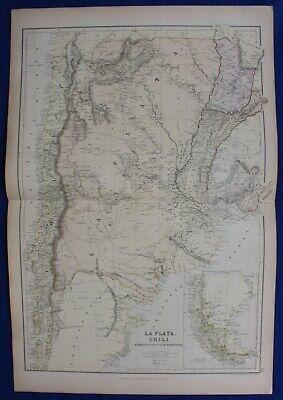 ARGENTINA, CHILE, PATAGONIA, PARAGUAY, original antique map, Blackie, 1882