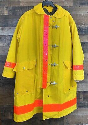 Vintage 50 Morning Pride Turnout Gear Yellow Fireman Jacket Coat Firefighter