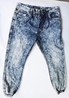 Bleach Wash Denim (Acid Bleach wash Denim jogger drawstring swiss cross 38 jean sweat pant waist )