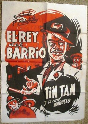 """TINTAN  in """"EL REY DElL BARRIO"""" 1/2 Sheet 1949 Vintage Mexican Poster by CABRAL"""