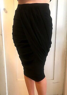 Womens Band Of Outsiders Black Draped Ruched pencil asymmetrical Skirt 1 S ()
