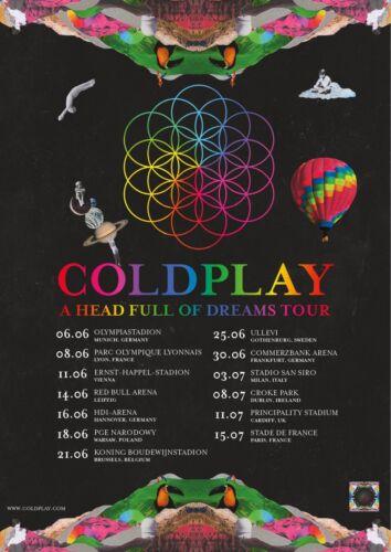 "COLDPLAY ""HEAD FULL OF DREAMS TOUR"" 2016 EUROPEAN CONCERT POSTER -Alt Rock Music"