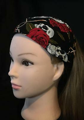 Day of the Dead Skulls Roses Hair Head Band Bandana Ladies Biker  feeanddave](Day Of The Dead Hair)
