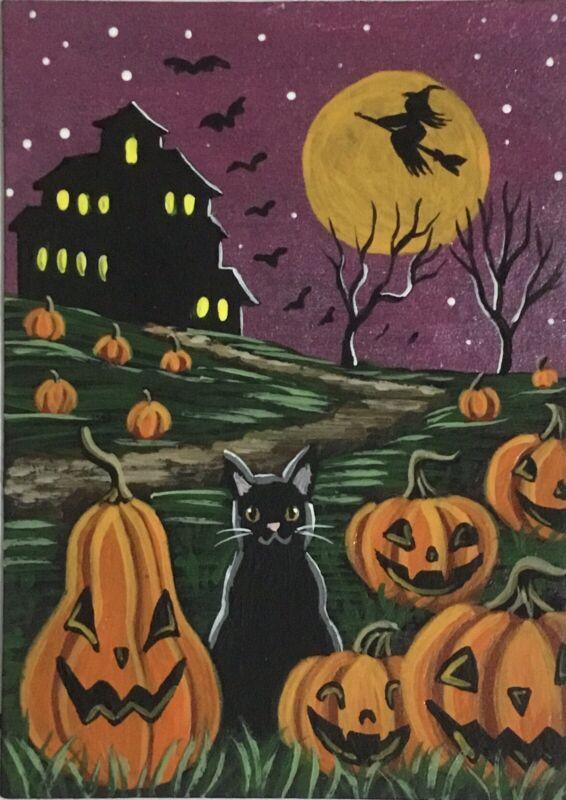 ACEO Original Halloween Acrylic Sketch Card Black Cat Jack-o