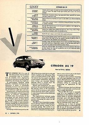 1956 CITROEN DS-19  ~  ORIGINAL SINGLE-PAGE ARTICLE / AD