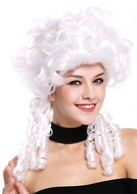 Renaissance Perücke (Perücke Damen Karneval Barock Renaissance Romantik Spiral Locken toupiert weiß )