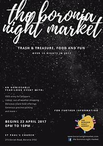 The Boronia Night Market! Come sell your stuff! Shop & Eat! Boronia Knox Area Preview