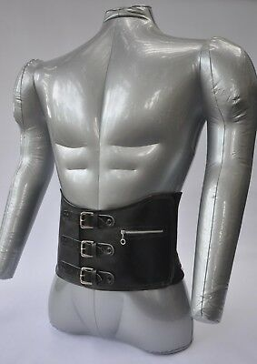 Vintage Motocross Kidney Belt, Leather & Elastic with Buckles