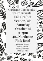 Looking for vendors for upcoming Craft/Vendor Sale