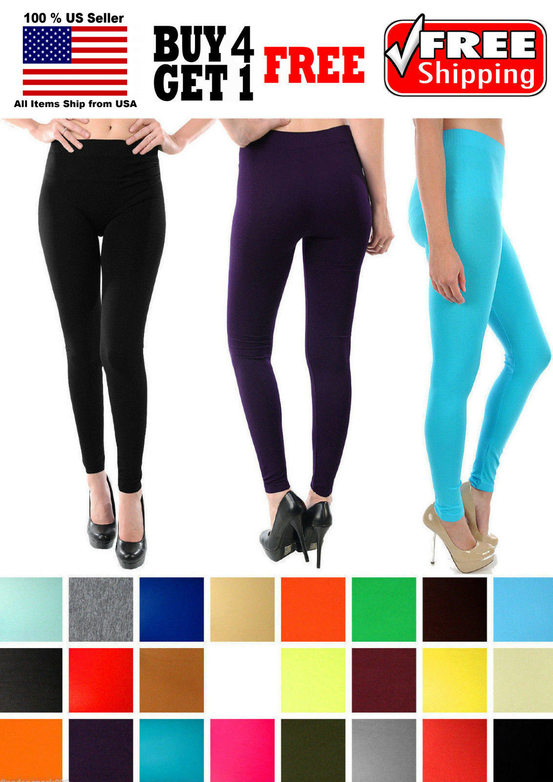WOMEN SEAMLESS ONE SIZE OPAQUE 37″ LENGTH CAPRI LEGGINGS JEGGINGS YOGA PANTS Clothing, Shoes & Accessories