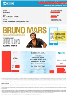 BRUNO MARS GA TICKET!!! (Ft DUA LIPA) SATURDAY 17/03/18