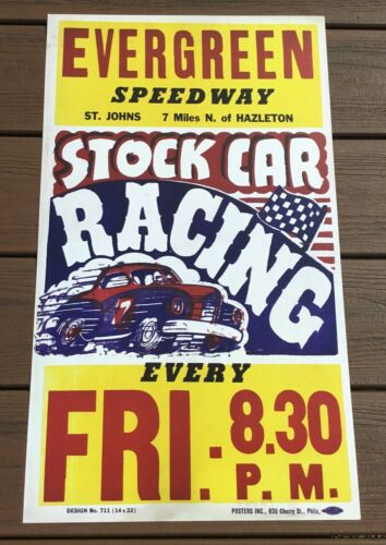 Evergreen Raceway Hazleton Pa. Stock Car Oval Track Racing Poster Sign