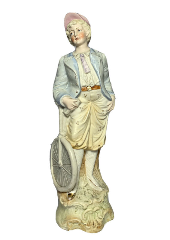 """Antique BICYCLE BICYCLER BISQUE PORCELAIN FIGURINE GERMAN HEUBACH 12 5/8"""" Tall"""