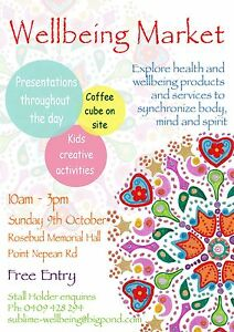 Wellbeing Market Rosebud - Sunday 9th October 2016 10 am to 3 pm Rosebud Mornington Peninsula Preview