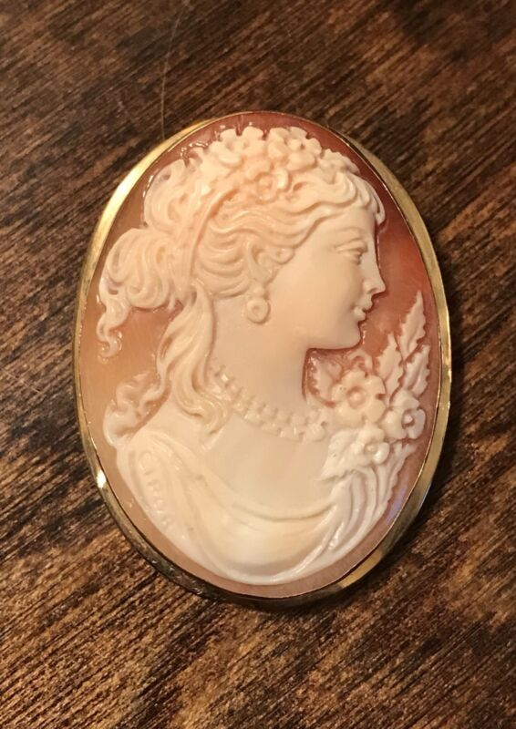 Cellini Cameo 18K Gold Pendant/Brooch NWOT Pompei Italy with Original Case $1232