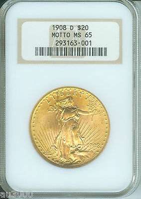 1908 D WITH MOTTO $20 ST. GAUDENS NGC MS65 SAINT MS 65 OLD FAT HOLDER
