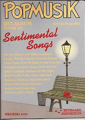 Akkordeon Keyboard Noten- SENTIMENTAL SONGS - POPMUSIK HIT-ALBUM SUPER 20-leicht