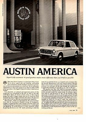 1968 AUSTIN AMERICA   ~  ORIGINAL 3-PAGE ROAD TEST / ARTICLE / AD