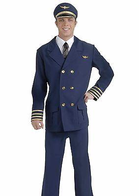Airline Pilots Costume Adult Mens Jet Captain Captains Uniform   Fast Ship