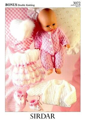 Dolls Clothes Knitting Pattern: All In One, Dress, Bootees, Jacket, Bonnet -14in