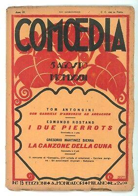 COMOEDIA NUMERO 15 1922 ROSTAND DUE PIERROTS MARTINEZ SIERRA CANZONE DELLA CUNA