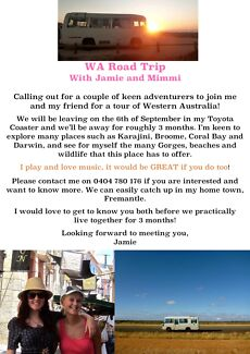 ROAD TRIP TRAVEL WA and Darwin with Jamie and Mimmi Beaconsfield Fremantle Area Preview
