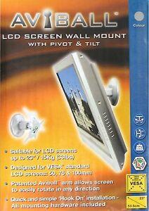 SHINY-CHROME-FINISH-BTECH-BT7519-AVIBALL-LCD-SCREEN-TILT-PIVOT-SWIVEL-WALL-MOUNT