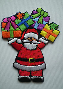 100-EMBROIDERY-IRON-ON-SANTA-CLAUS-CHRISTMAS-PRESENT-PATCH-Buy-10-for-BONUS