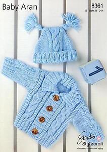 Stylecraft 8361 Knitting Pattern Baby Cardigan & Hat in Stylecraft Baby Aran