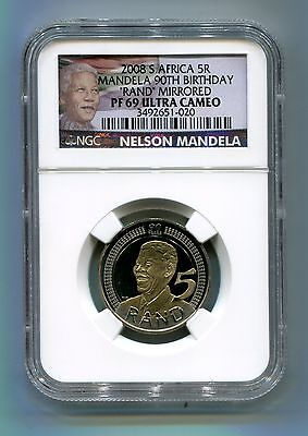 Nelson Mandela 90th Birthday 5R NGC Proof 69 Ultra Cameo - Rand Mirrowed Variety for sale  Shipping to South Africa