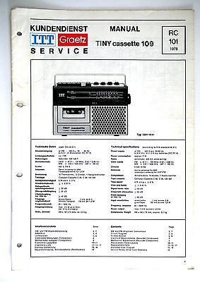 ITT GRAETZ TINY CASSETTE 109 RC 101 Original Service-Manual/Schaltplan! o53