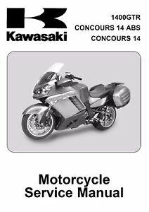 Kawasaki GTR1400 1400 GTR Concours 14 2008 2009 service manual on CD