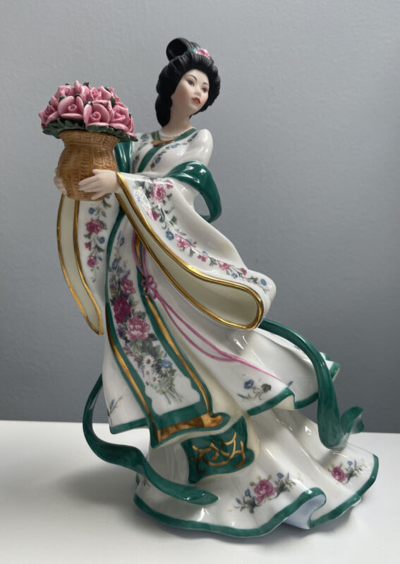 "Danbury Mint ""The Rose Princess"" by Lena Liu Oriental Porcelain Figurine 10"""