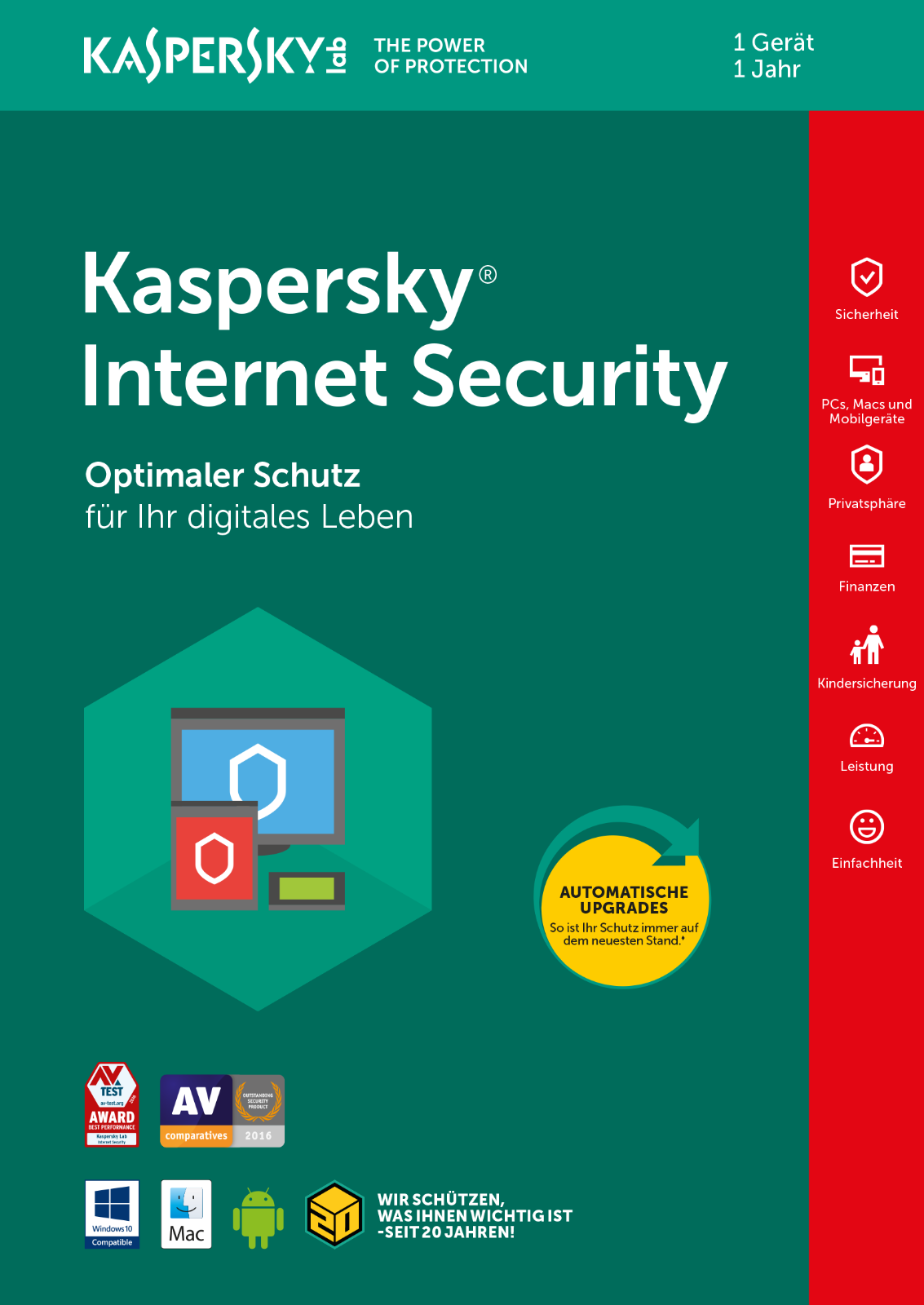 KASPERSKY INTERNET SECURITY 2018 1 PC / Geräte  1 Jahr Vollversion Deutsch