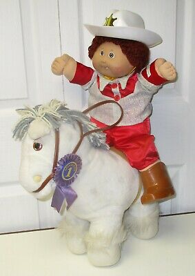 Vintage Coleco  Cabbage Patch Kids White Show Pony Horse & Doll brown hair & Box for sale  Wilkes-Barre