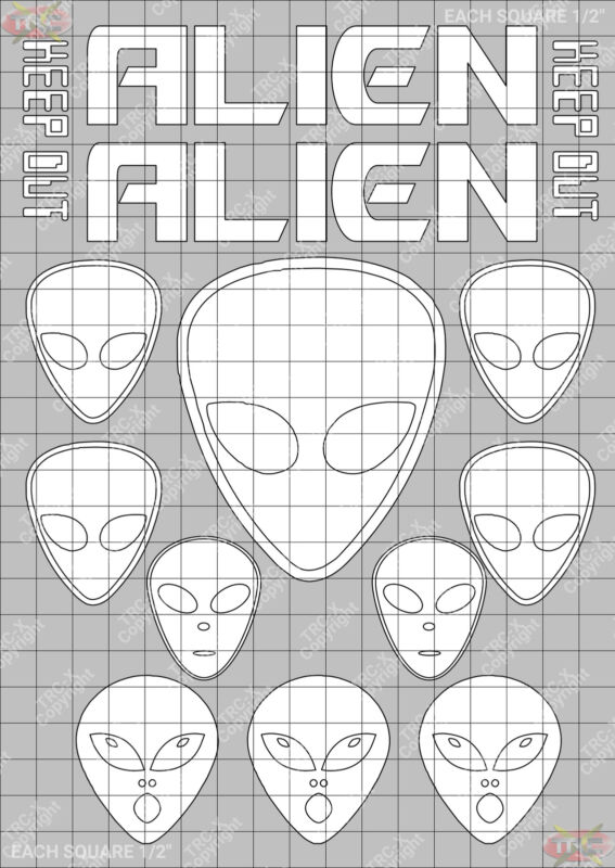 TRC8501W Alien Hobby Water Painting Stencil Craft Airbrush Mask