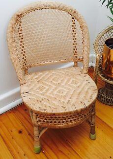 Boho vintage cane rattan wicker child's chair