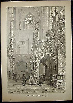 HALBERSTADT, im Dom. Originaler Holzstich 1885