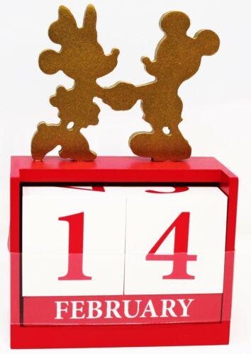 DISNEY Mickey & Minnie Mouse Perpetual Desk Calendar Months Days Wood Blocks
