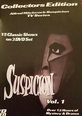 Suspicion-TV Series on 3 DVD-R Set-ALFRED HITCHCOCK-15 Classic Episodes