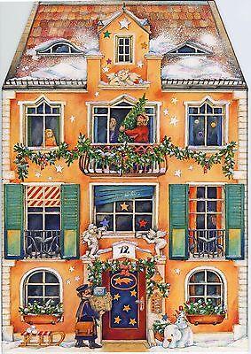 Im Weihnachtshaus Prächtiger vierseitiger Adventskalender zum Aufstellen Glimmer