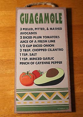 Guacamole Recipe Mexican Restaurant Cantina Southwestern Kitchen Decor Sign  New